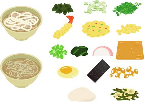 Udon and soba and ingredients