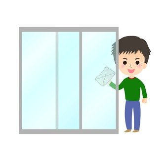 A man who wipes a window