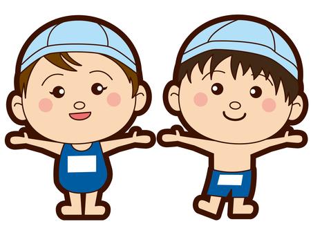 초등학생 - 수영장 - 수영복 - 남녀