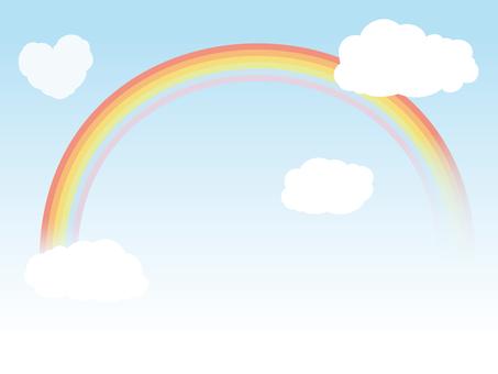 밝은 색상의 하늘과 무지개