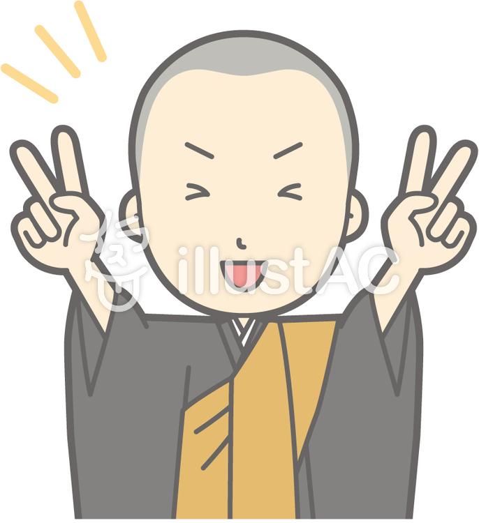 僧侶若者a-Wピース-バストのイラスト
