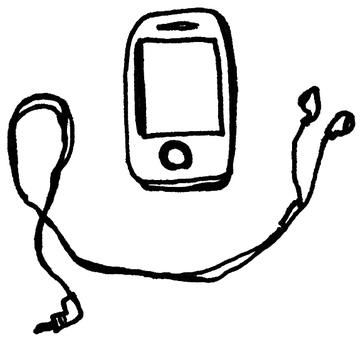 智能手機和耳機(單色版)