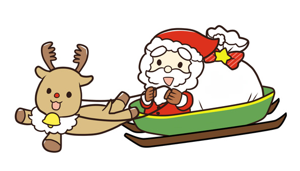 Sledding and reindeer and Santa