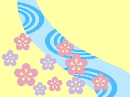 Japanese style river and flowers