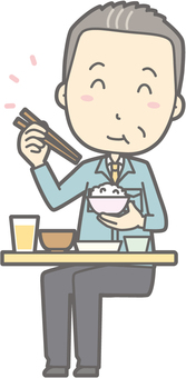 Middle-aged man work clothes - delicious Japanese food - whole body