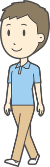 Blue polo shirt male-352 - whole body