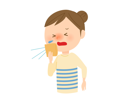 A woman holding a sneeze with a handkerchief