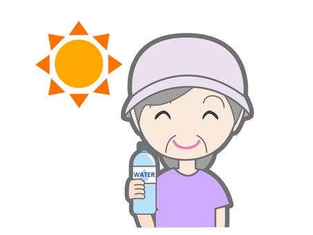 Senior women with measures against heat stroke