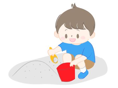 Children playing sandboxes