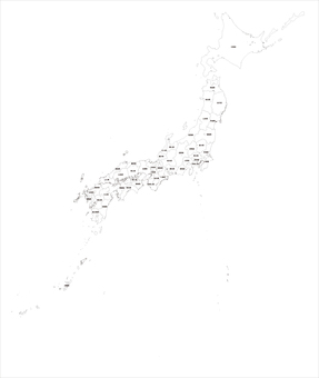 Japanese archipelago white map
