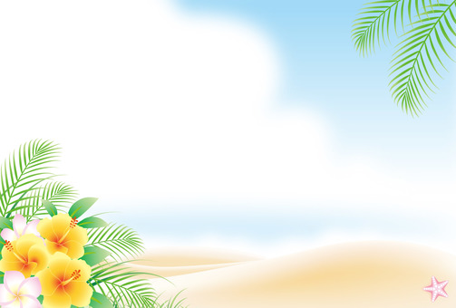 Summer beach with blooming hibiscus