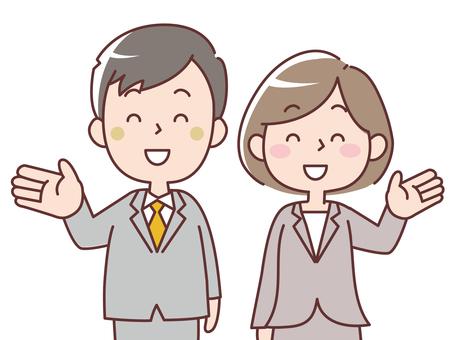Men and women in suits _ information _ upper body