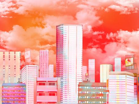 Building street of sunset