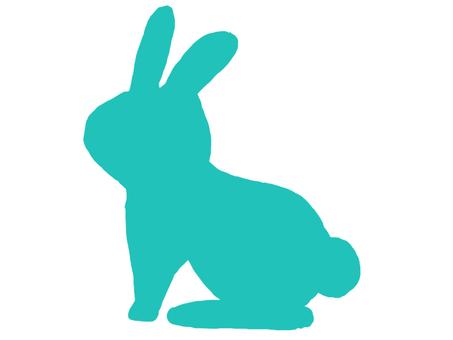 兔子剪影藍色