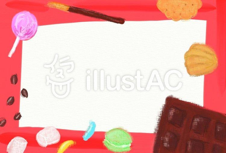 お菓子のフレーム ハガキのイラスト