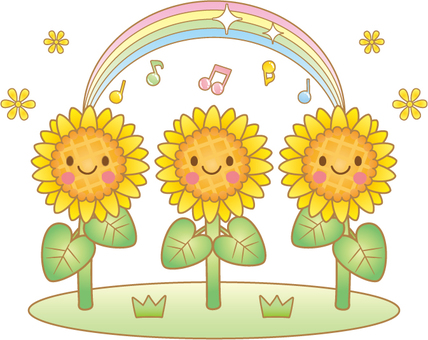 Illustration of sunflowers and rainbows (with lines)