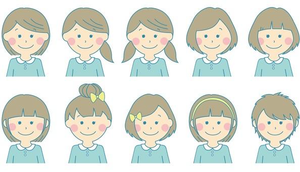 Girls' hairdo list Light blue