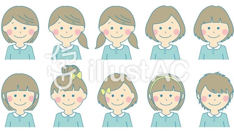 女の子髪型一覧 水色イラスト , No 121050/無料イラストなら