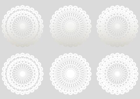 Doily set monotone white