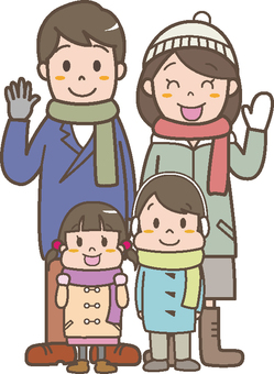 Four people in winter family
