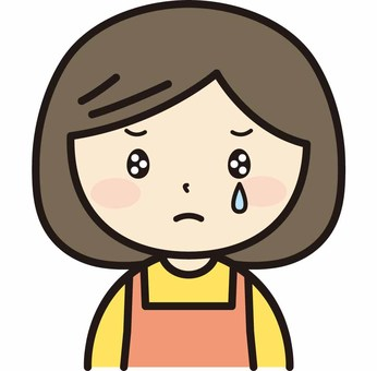 Crying woman in apron