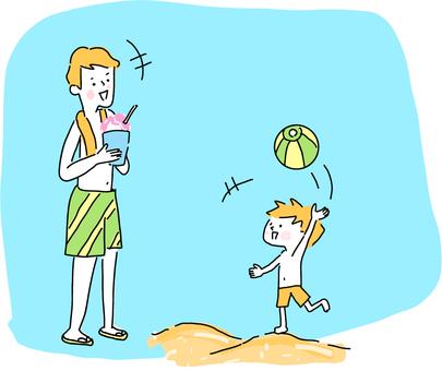바다에서 노는 부모와 자식