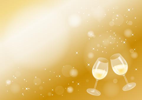 White wine toast (background gold)