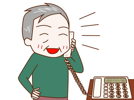 Grandfather talking happily on the phone