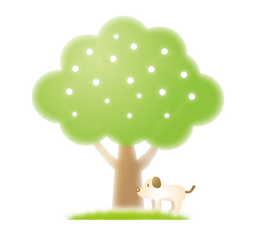 A dog waiting under a tree