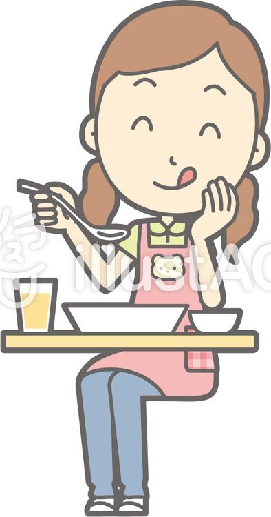 保育士女性-おいしい洋食-全身のイラスト