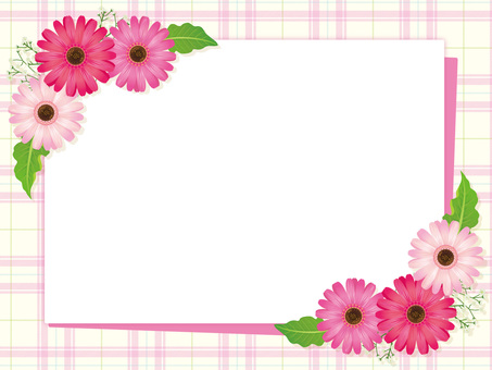 Flower and leaf frame of pink type gerbera 02