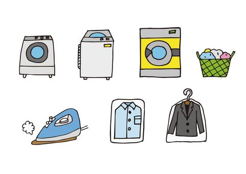 Washing and cleaning icon set