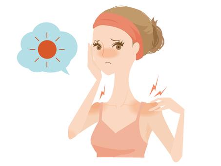 A sunburned woman