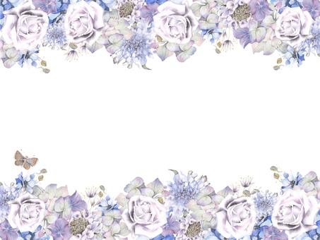 花枠373-涼し気な色の花と蝶の花枠