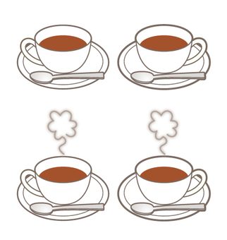 Four tea cups _ spoon & steaming