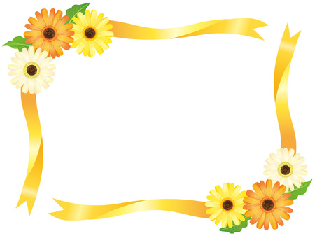 Yellow series Gerbera Flower and Ribbon Frame 02