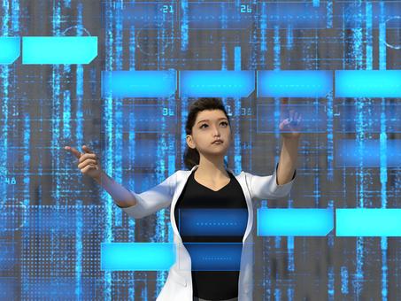 Futuristic electronic brain world digital area and female 2