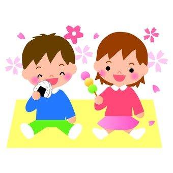 Children watching cherry blossoms