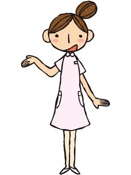 Nurse (pink / hand held over)