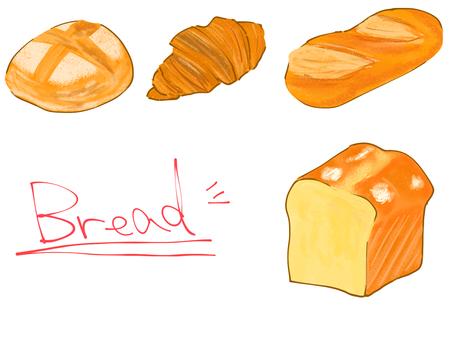 Freshly baked bread material set