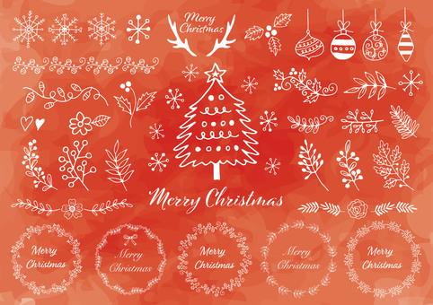 手描きのクリスマス素材背景赤