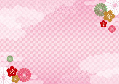 Japanese style background 16 pink _ grand scale _ horizontal 2