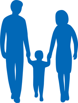 Family _ 3 people _ hand _ silhouette _ blue
