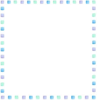 Watercolor cold color square frame