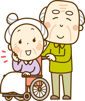 Wheelchair grandmother and grandfather