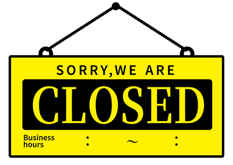 Closed signboard close yellow time