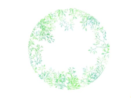 Round green leaf frame