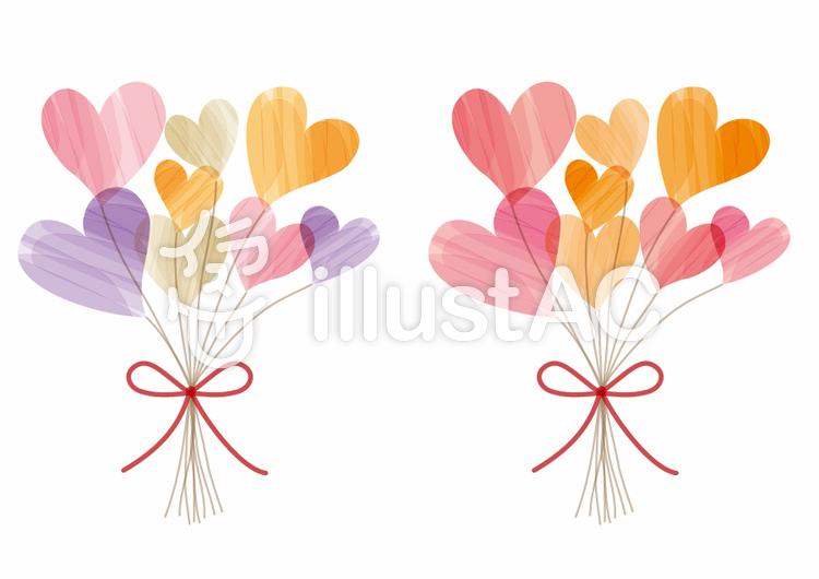 ハートの花束2種のイラスト