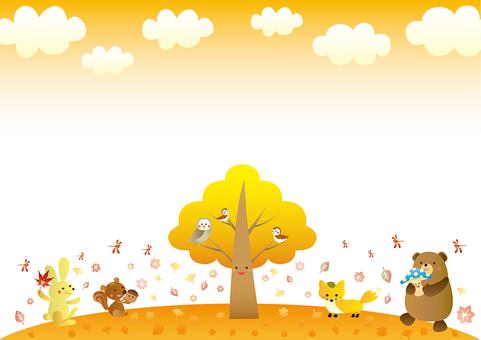 가을의 동물들의 귀여운 프레임 A 버전 옆