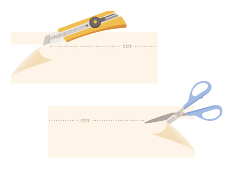Stationery _ cut with scissors · cut with a cutter